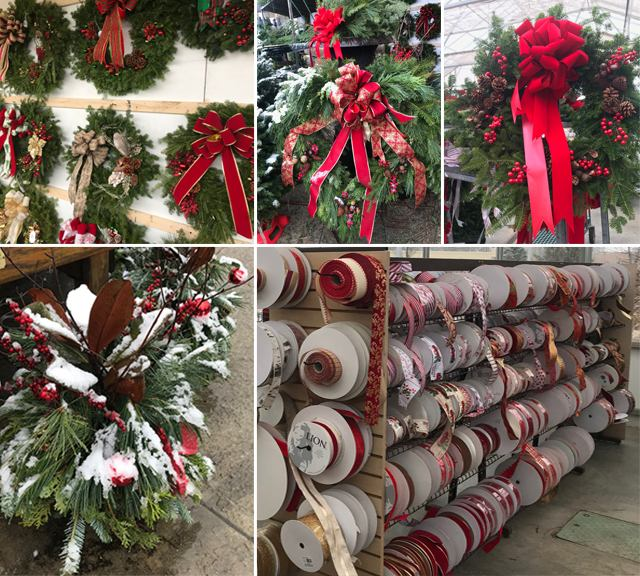 wreaths, ribbons, centerpieces